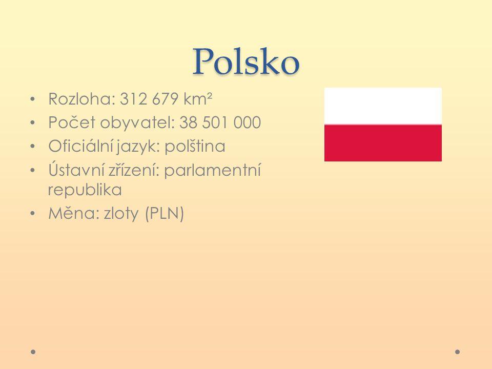 Polsko Rozloha: 312 679 km² Počet obyvatel: 38 501 000 Oficiální jazyk: polština Ústavní zřízení: parlamentní republika Měna: zloty (PLN)