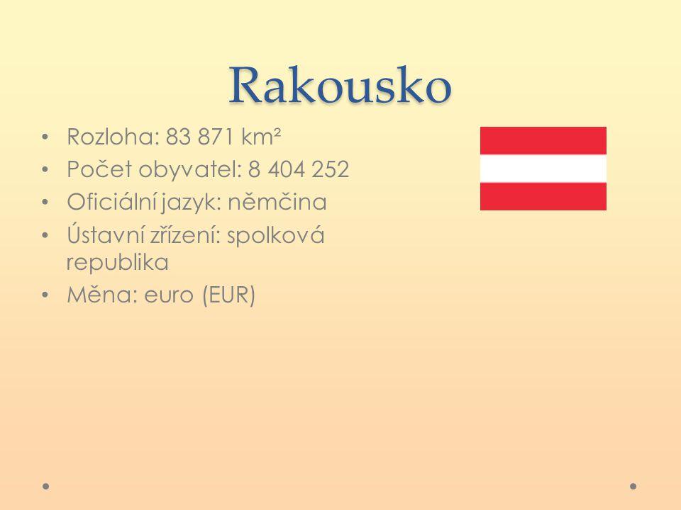 Rakousko Rozloha: 83 871 km² Počet obyvatel: 8 404 252 Oficiální jazyk: němčina Ústavní zřízení: spolková republika Měna: euro (EUR)