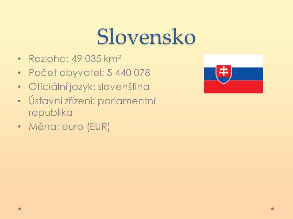 Slovensko Rozloha: 49 035 km² Počet obyvatel: 5 440 078 Oficiální jazyk: slovenština Ústavní zřízení: parlamentní republika Měna: euro (EUR)