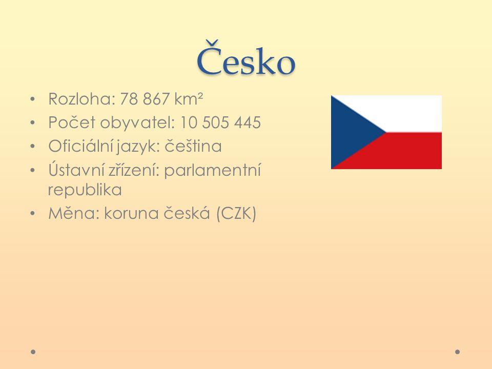 Česko Rozloha: 78 867 km² Počet obyvatel: 10 505 445 Oficiální jazyk: čeština Ústavní zřízení: parlamentní republika Měna: koruna česká (CZK)