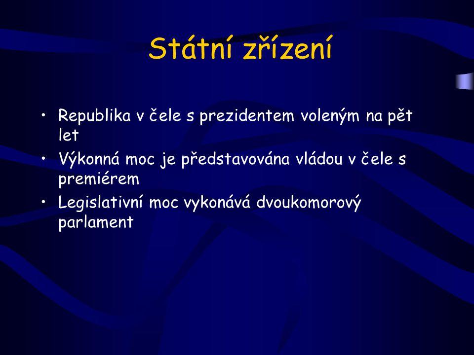 Státní zřízení Republika v čele s prezidentem voleným na pět let Výkonná moc je představována vládou v čele s premiérem Legislativní moc vykonává dvou