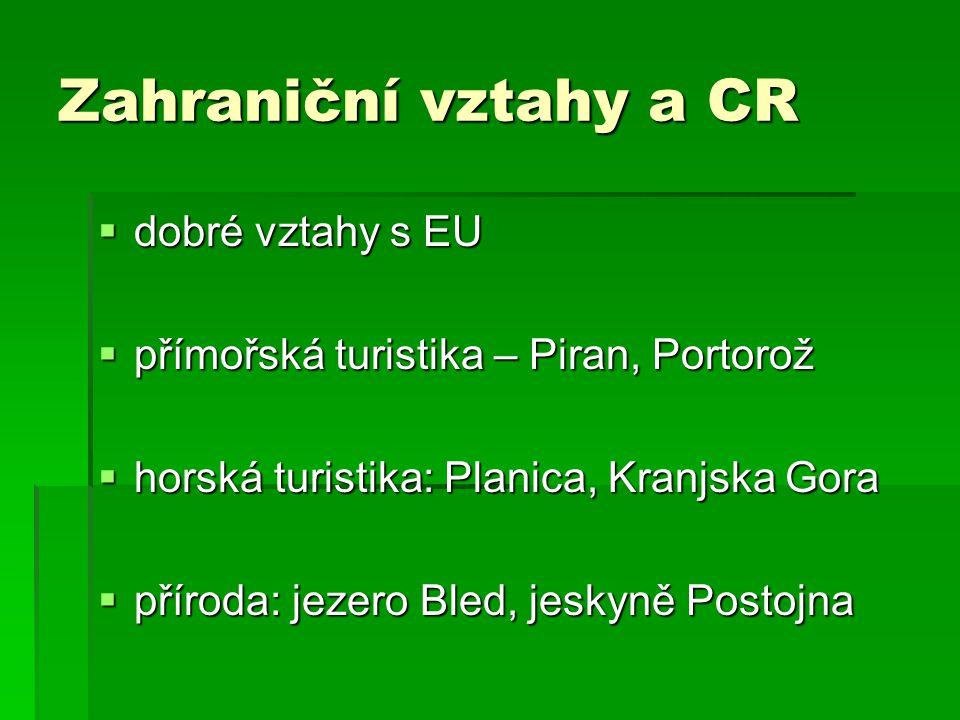 Zahraniční vztahy a CR  dobré vztahy s EU  přímořská turistika – Piran, Portorož  horská turistika: Planica, Kranjska Gora  příroda: jezero Bled, jeskyně Postojna