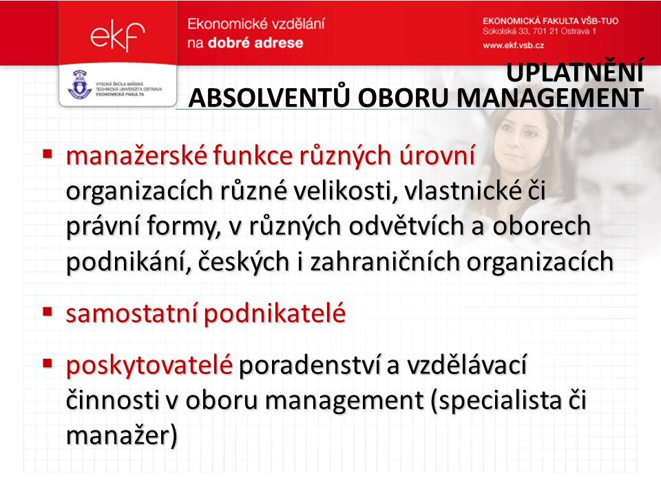  manažerské funkce různých úrovní organizacích různé velikosti, vlastnické či právní formy, v různých odvětvích a oborech podnikání, českých i zahran