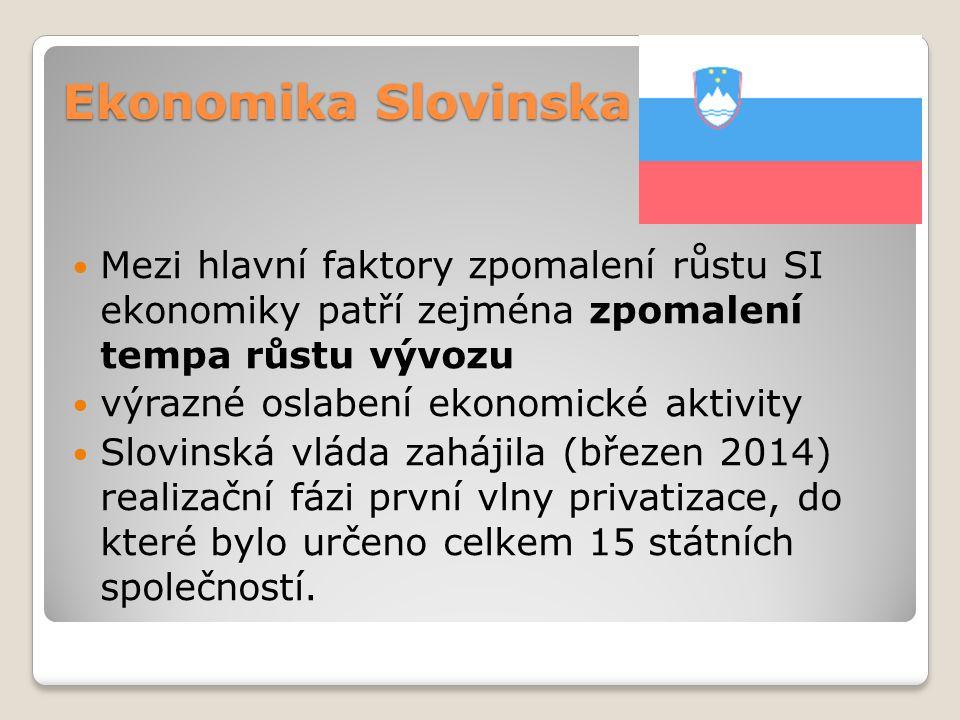 Ekonomika Slovinska Mezi hlavní faktory zpomalení růstu SI ekonomiky patří zejména zpomalení tempa růstu vývozu výrazné oslabení ekonomické aktivity S
