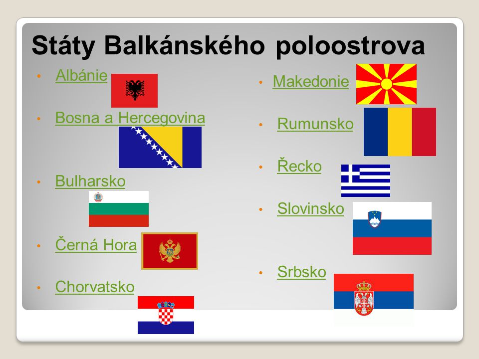 Státy Balkánského poloostrova Albánie Bosna a Hercegovina Bulharsko Černá Hora Chorvatsko Makedonie Rumunsko Řecko Slovinsko Srbsko