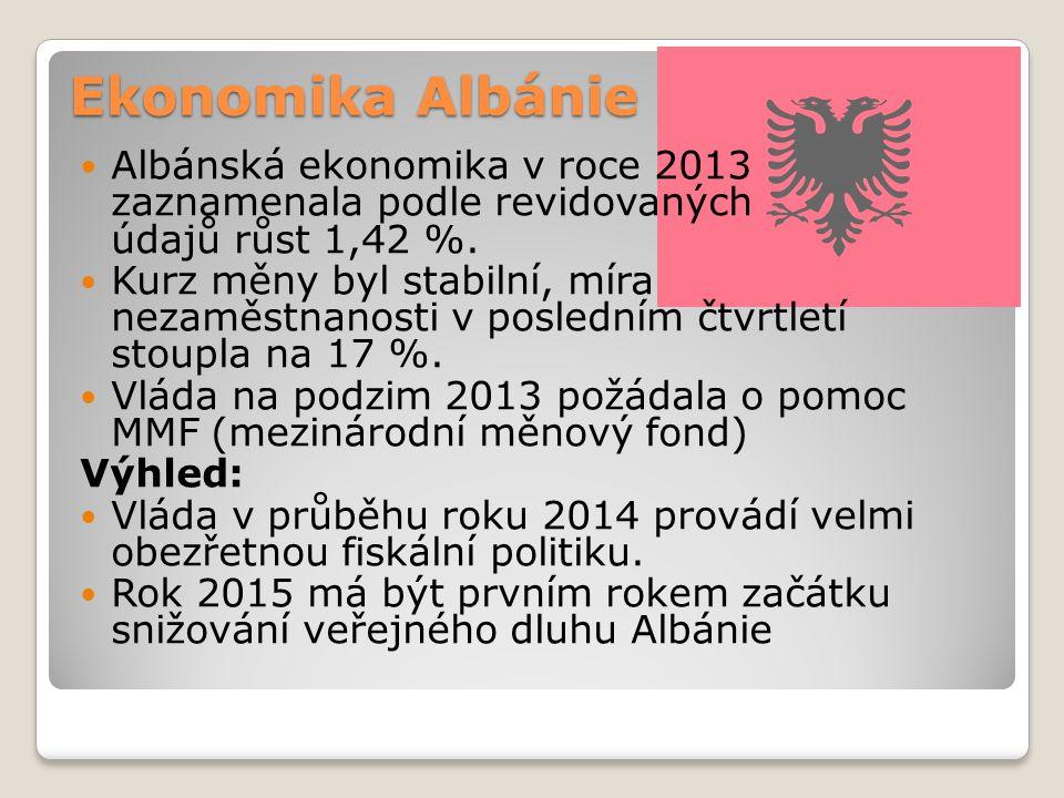 Ekonomika Albánie Albánská ekonomika v roce 2013 zaznamenala podle revidovaných údajů růst 1,42 %. Kurz měny byl stabilní, míra nezaměstnanosti v posl