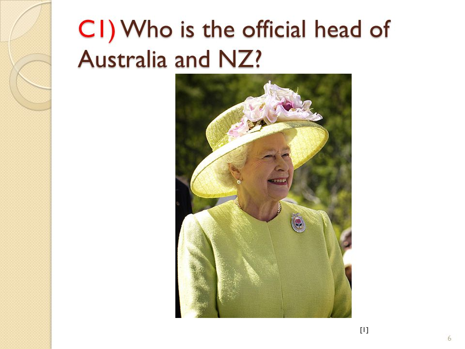 C1) Who is the official head of Australia and NZ [1] 6