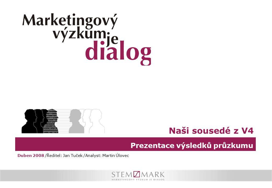 Prezentace výsledků průzkumu Naši sousedé z V4 Duben 2008 /Ředitel: Jan Tuček /Analyst: Martin Úlovec