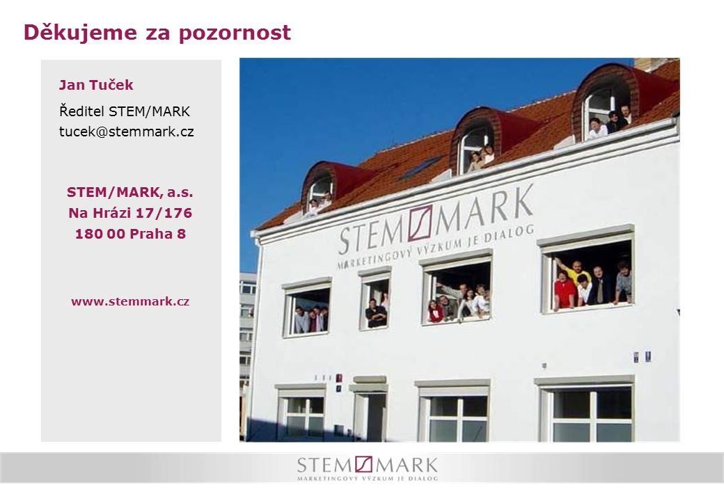 Děkujeme za pozornost Jan Tuček Ředitel STEM/MARK tucek@stemmark.cz STEM/MARK, a.s. Na Hrázi 17/176 180 00 Praha 8 www.stemmark.cz