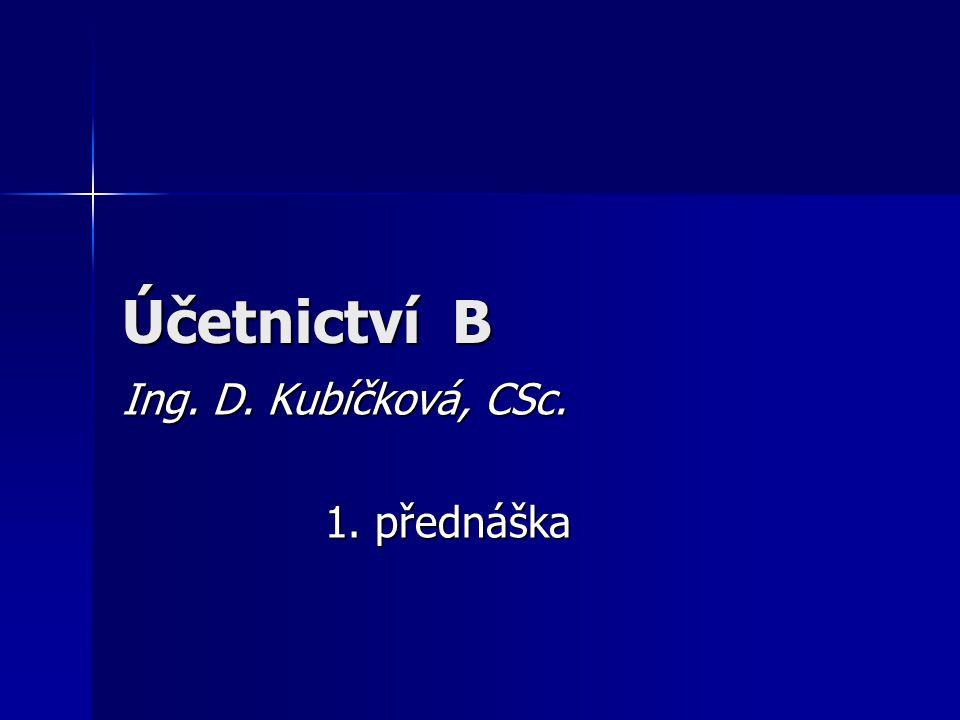Účetnictví B Ing. D. Kubíčková, CSc. 1. přednáška