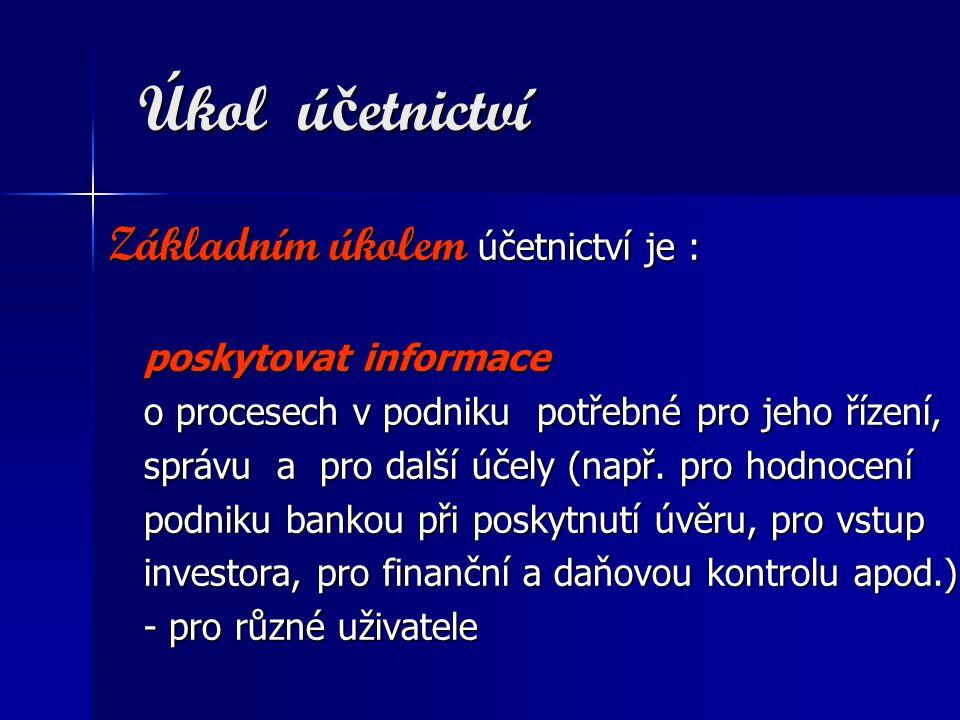 Úkol ú č etnictví Úkol ú č etnictví Základním úkolem účetnictví je : Základním úkolem účetnictví je : poskytovat informace poskytovat informace o proc