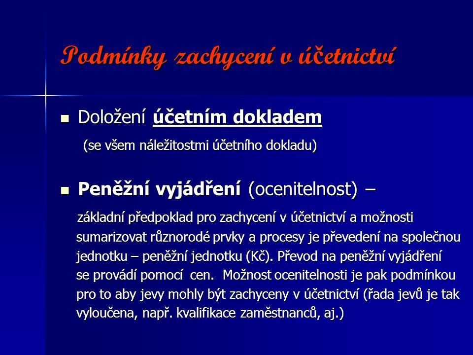 Podmínky zachycení v ú č etnictví Podmínky zachycení v ú č etnictví Doložení účetním dokladem Doložení účetním dokladem (se všem náležitostmi účetního