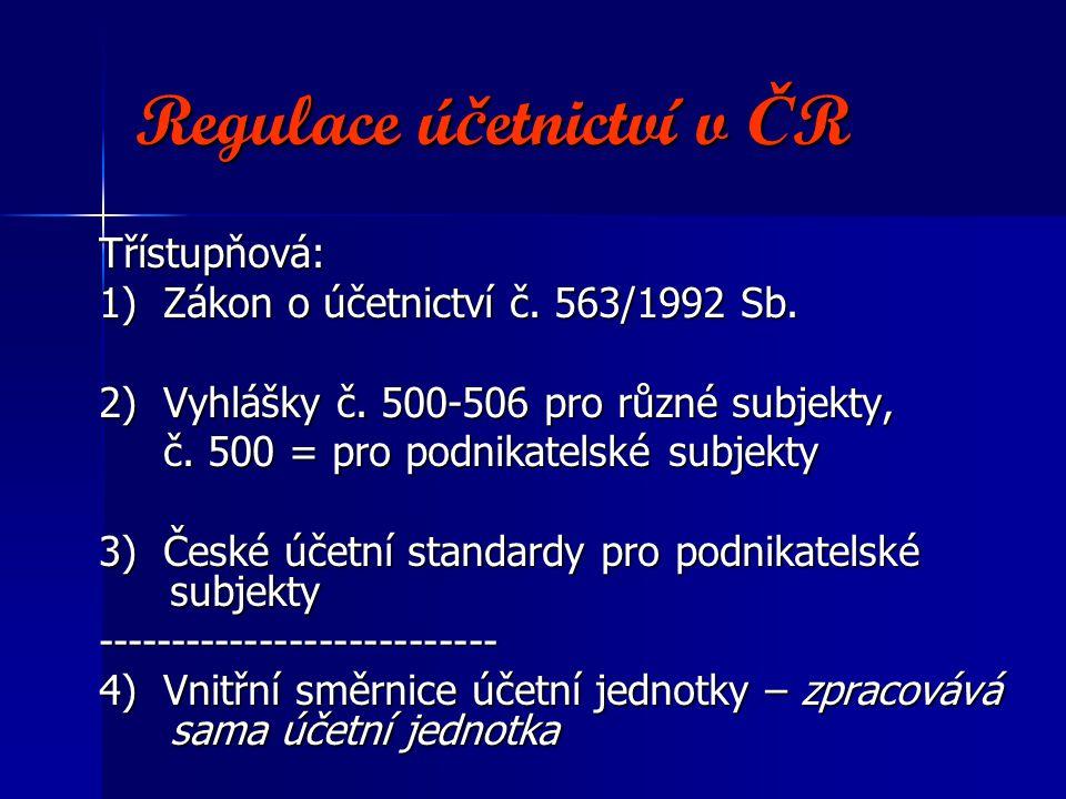 Regulace ú č etnictví v Č R Třístupňová: 1) Zákon o účetnictví č. 563/1992 Sb. 2) Vyhlášky č. 500-506 pro různé subjekty, č. 500 = pro podnikatelské s