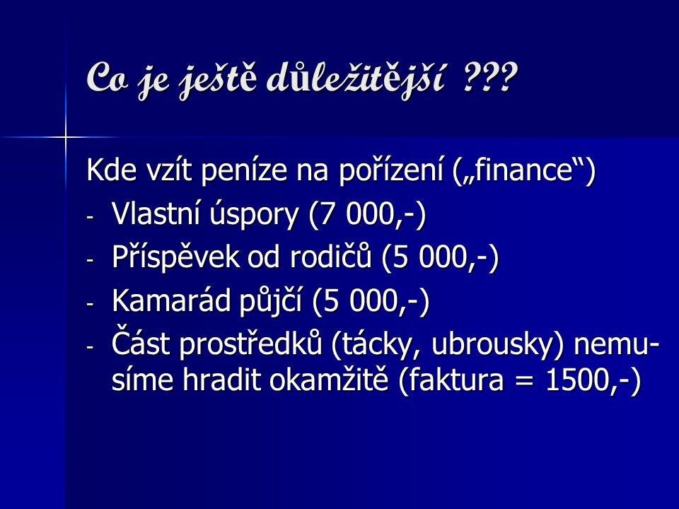 """Co je ješt ě d ů ležit ě jší ??? Kde vzít peníze na pořízení (""""finance"""") - Vlastní úspory (7 000,-) - Příspěvek od rodičů (5 000,-) - Kamarád půjčí (5"""