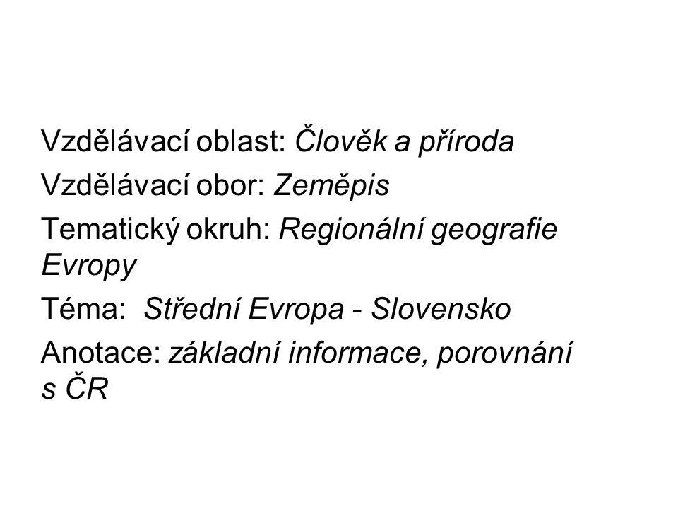 Vzdělávací oblast: Člověk a příroda Vzdělávací obor: Zeměpis Tematický okruh: Regionální geografie Evropy Téma: Střední Evropa - Slovensko Anotace: zá