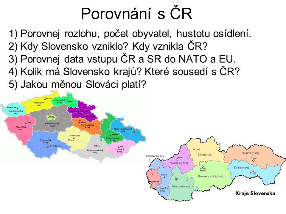 Porovnání s ČR 1) Porovnej rozlohu, počet obyvatel, hustotu osídlení.