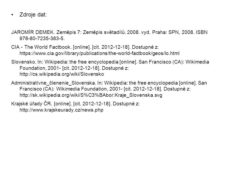 Zdroje dat: JAROMÍR DEMEK. Zeměpis 7: Zeměpis světadílů. 2008. vyd. Praha: SPN, 2008. ISBN 978-80-7235-383-5. CIA - The World Factbook. [online]. [cit