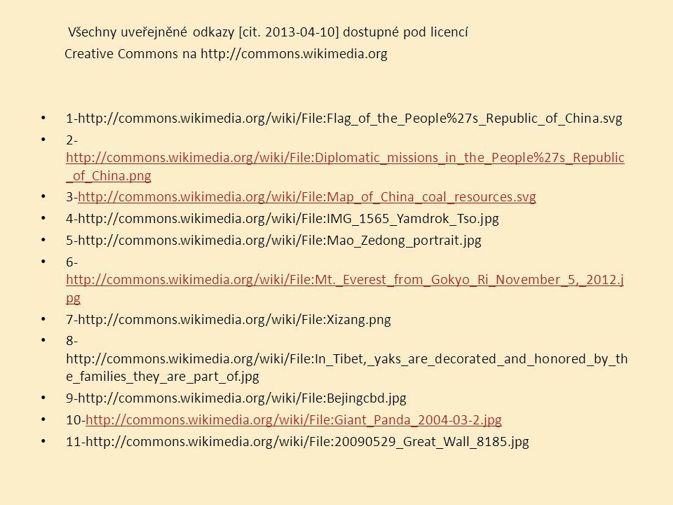 Všechny uveřejněné odkazy [cit. 2013-04-10] dostupné pod licencí Creative Commons na http://commons.wikimedia.org 1-http://commons.wikimedia.org/wiki/