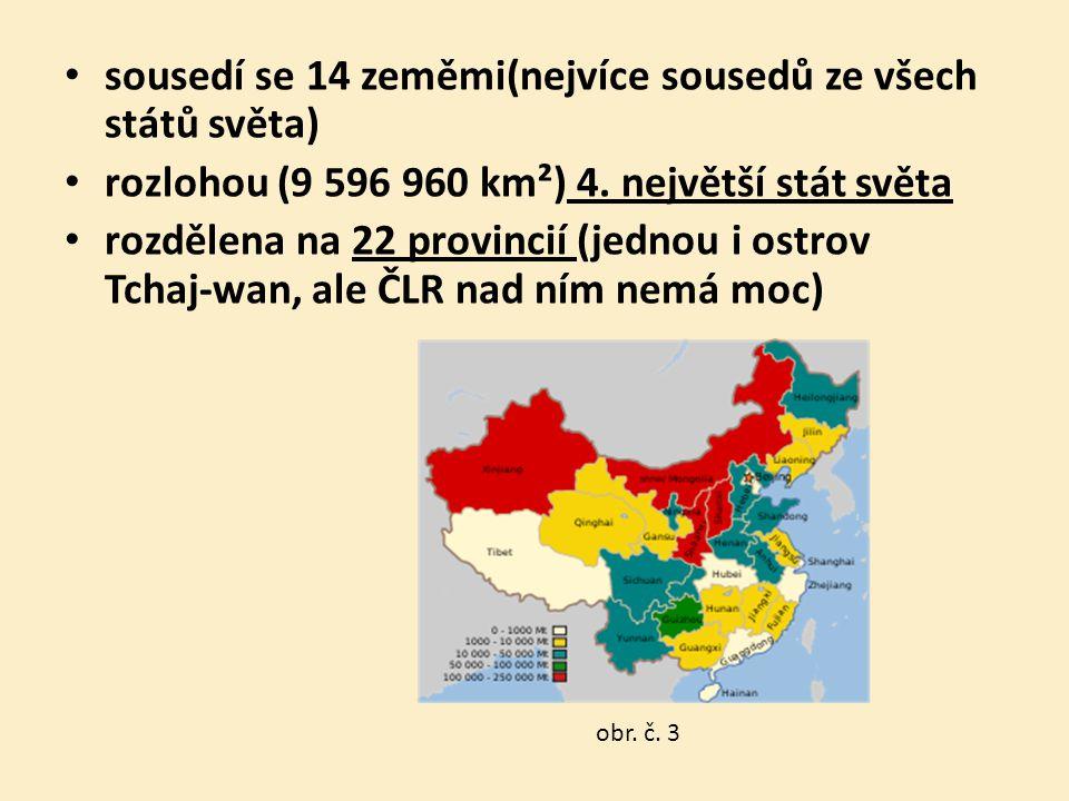 sousedí se 14 zeměmi(nejvíce sousedů ze všech států světa) rozlohou (9 596 960 km²) 4. největší stát světa rozdělena na 22 provincií (jednou i ostrov