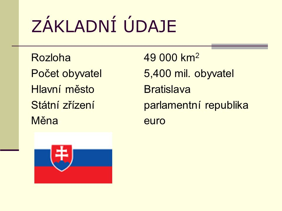 ZÁKLADNÍ ÚDAJE Rozloha49 000 km 2 Počet obyvatel5,400 mil.