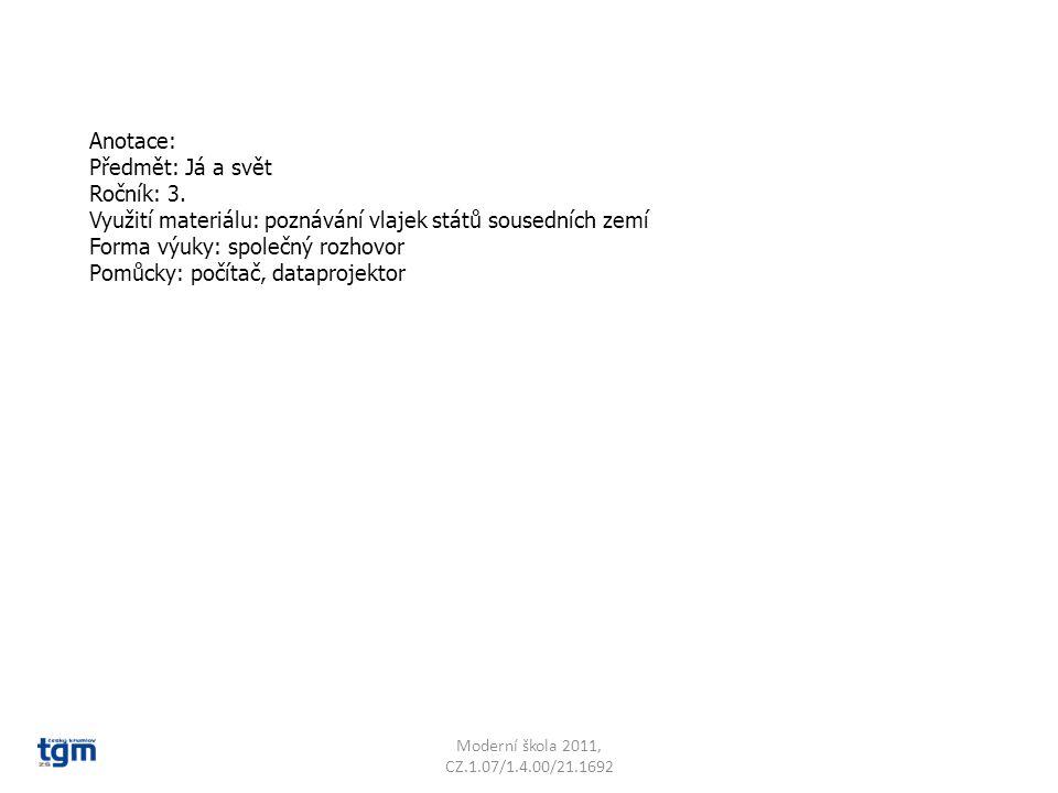 Anotace: Předmět: Já a svět Ročník: 3. Využití materiálu: poznávání vlajek států sousedních zemí Forma výuky: společný rozhovor Pomůcky: počítač, data