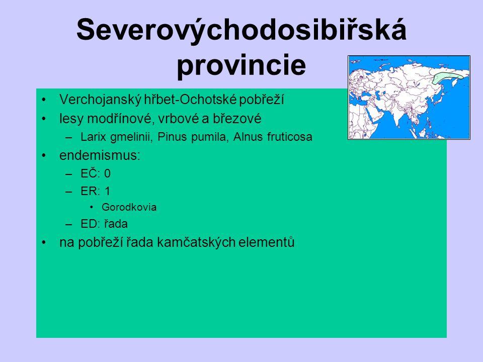 Severovýchodosibiřská provincie Verchojanský hřbet-Ochotské pobřeží lesy modřínové, vrbové a březové –Larix gmelinii, Pinus pumila, Alnus fruticosa en