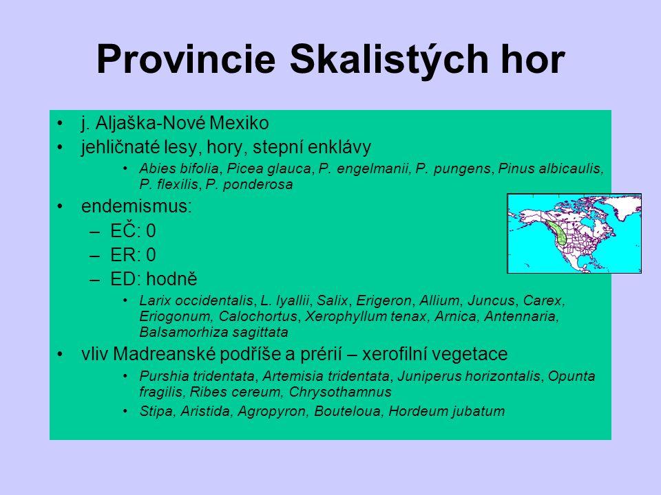Provincie Skalistých hor j. Aljaška-Nové Mexiko jehličnaté lesy, hory, stepní enklávy Abies bifolia, Picea glauca, P. engelmanii, P. pungens, Pinus al