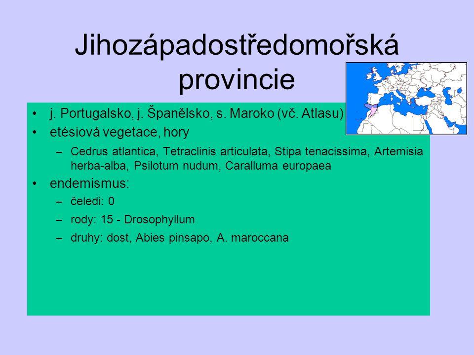 Jihozápadostředomořská provincie j. Portugalsko, j. Španělsko, s. Maroko (vč. Atlasu) etésiová vegetace, hory –Cedrus atlantica, Tetraclinis articulat