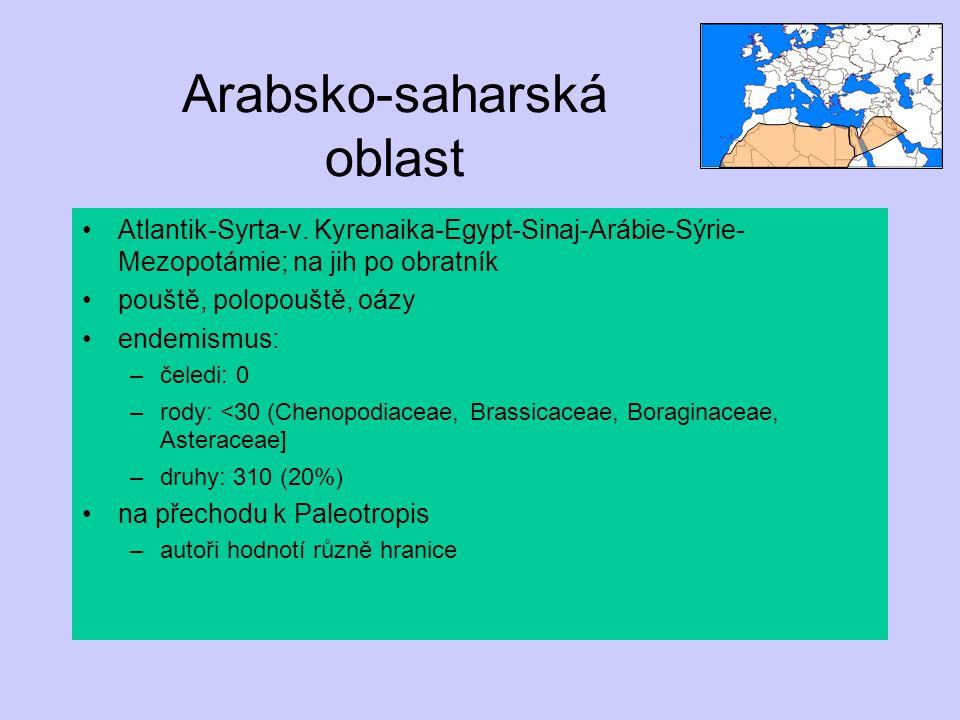 Arabsko-saharská oblast Atlantik-Syrta-v. Kyrenaika-Egypt-Sinaj-Arábie-Sýrie- Mezopotámie; na jih po obratník pouště, polopouště, oázy endemismus: –če