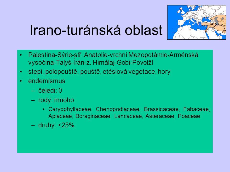 Irano-turánská oblast Palestina-Sýrie-stř. Anatolie-vrchní Mezopotámie-Arménská vysočina-Talyš-Írán-z. Himálaj-Gobi-Povolží stepi, polopouště, pouště,