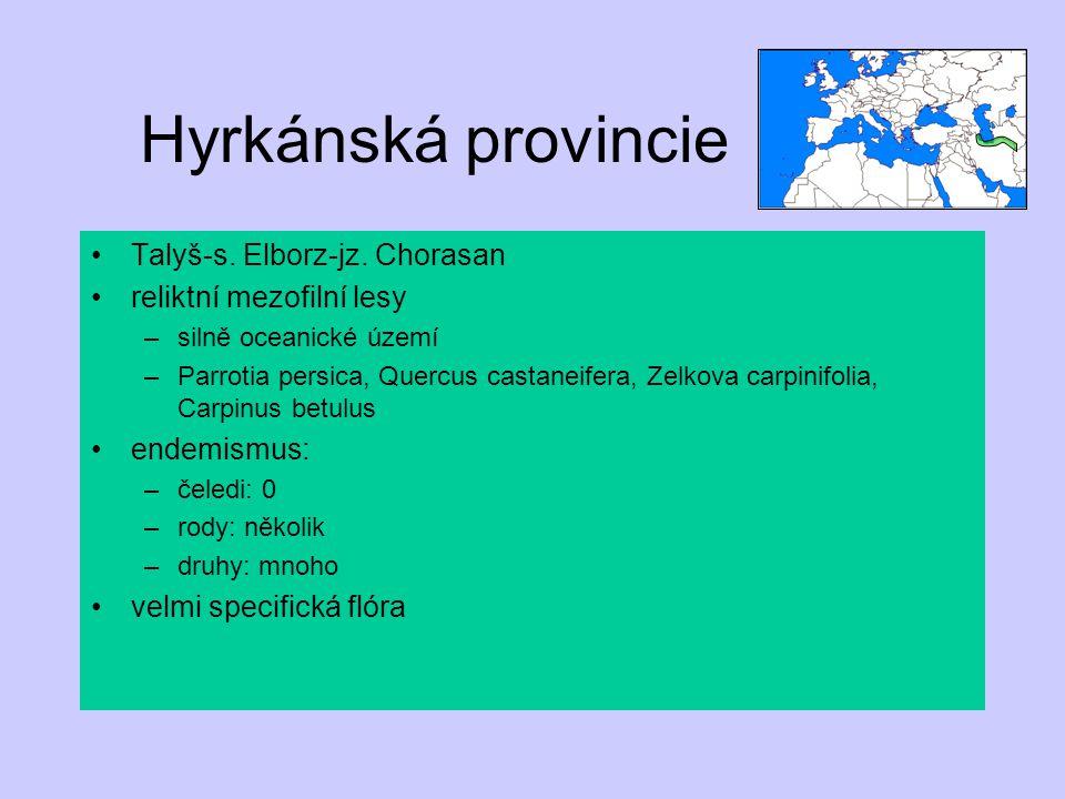 Hyrkánská provincie Talyš-s. Elborz-jz. Chorasan reliktní mezofilní lesy –silně oceanické území –Parrotia persica, Quercus castaneifera, Zelkova carpi