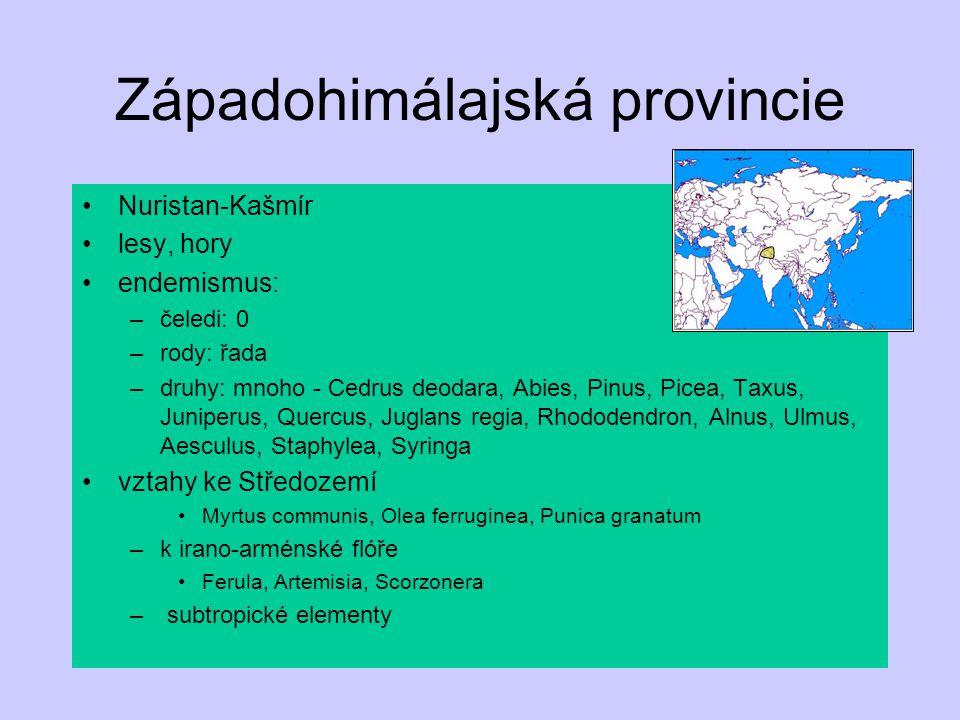 Západohimálajská provincie Nuristan-Kašmír lesy, hory endemismus: –čeledi: 0 –rody: řada –druhy: mnoho - Cedrus deodara, Abies, Pinus, Picea, Taxus, J