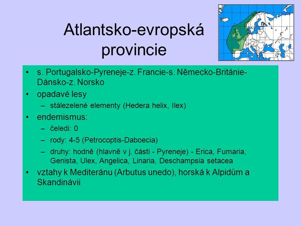 Atlantsko-evropská provincie s. Portugalsko-Pyreneje-z. Francie-s. Německo-Británie- Dánsko-z. Norsko opadavé lesy –stálezelené elementy (Hedera helix
