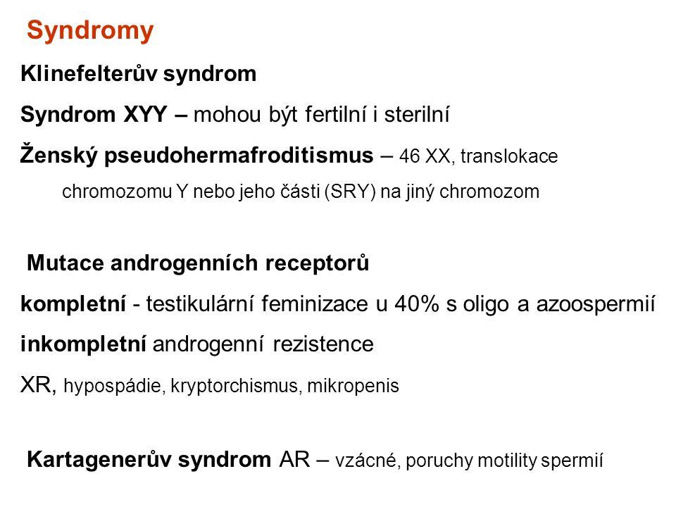 Syndromy Klinefelterův syndrom Syndrom XYY – mohou být fertilní i sterilní Ženský pseudohermafroditismus – 46 XX, translokace chromozomu Y nebo jeho č