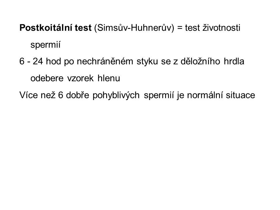 Postkoitální test (Simsův-Huhnerův) = test životnosti spermií 6 - 24 hod po nechráněném styku se z děložního hrdla odebere vzorek hlenu Více než 6 dob