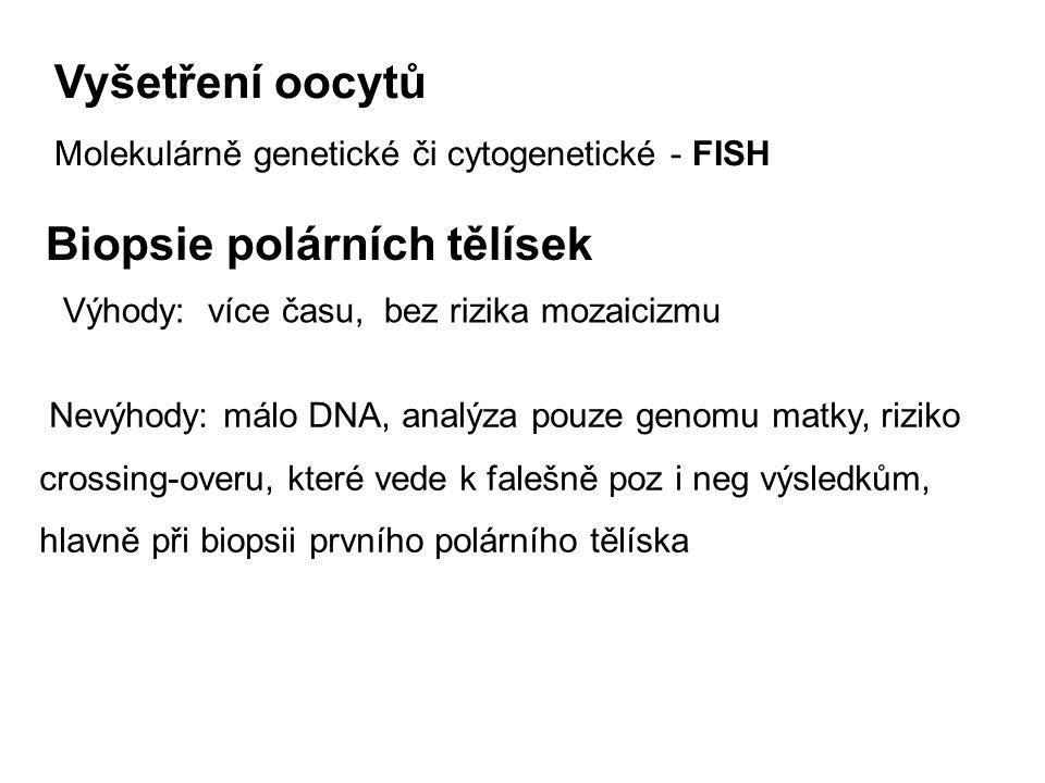 Vyšetření oocytů Molekulárně genetické či cytogenetické - FISH Biopsie polárních tělísek Výhody: více času, bez rizika mozaicizmu Nevýhody: málo DNA,