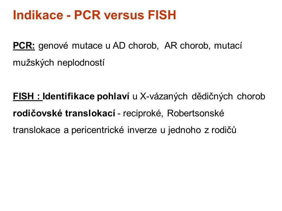 Indikace - PCR versus FISH PCR: genové mutace u AD chorob, AR chorob, mutací mužských neplodností FISH : Identifikace pohlaví u X-vázaných dědičných c