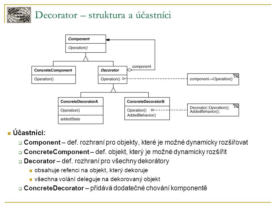 Účastníci:  Component – def. rozhraní pro objekty, které je možné dynamicky rozšiřovat  ConcreteComponent – def. objekt, který je možné dynamicky ro