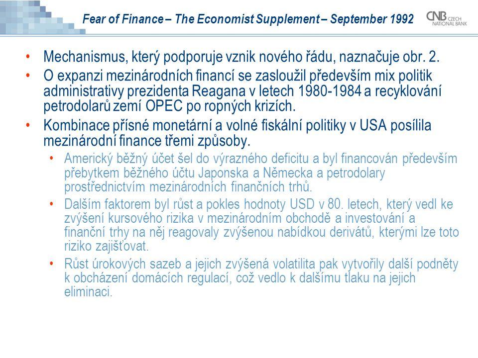 Fear of Finance – The Economist Supplement – September 1992 Mechanismus, který podporuje vznik nového řádu, naznačuje obr. 2. O expanzi mezinárodních