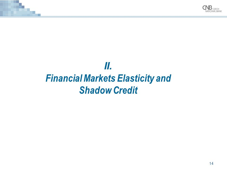 14 II. Financial Markets Elasticity and Shadow Credit