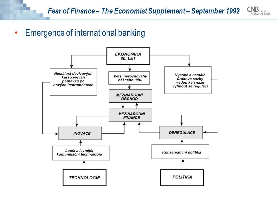 Fear of Finance – The Economist Supplement – September 1992 Mechanismus, který podporuje vznik nového řádu, naznačuje obr.