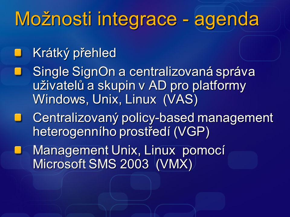 Možnosti integrace - agenda Krátký přehled Single SignOn a centralizovaná správa uživatelů a skupin v AD pro platformy Windows, Unix, Linux (VAS) Centralizovaný policy-based management heterogenního prostředí (VGP) Management Unix, Linux pomocí Microsoft SMS 2003 (VMX)