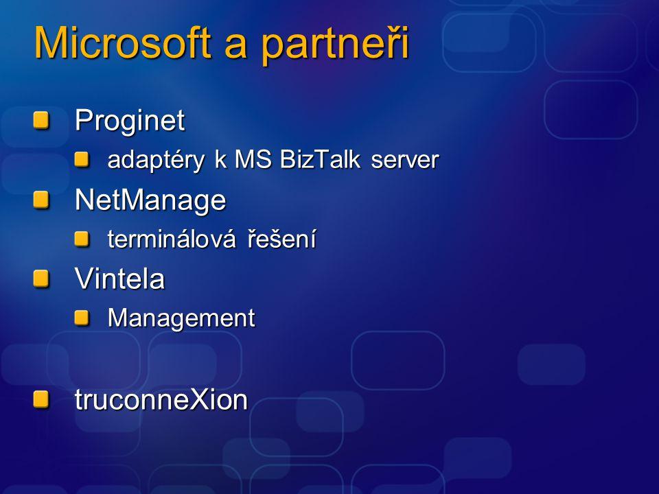 Microsoft a partneři Proginet adaptéry k MS BizTalk server NetManage terminálová řešení VintelaManagementtruconneXion