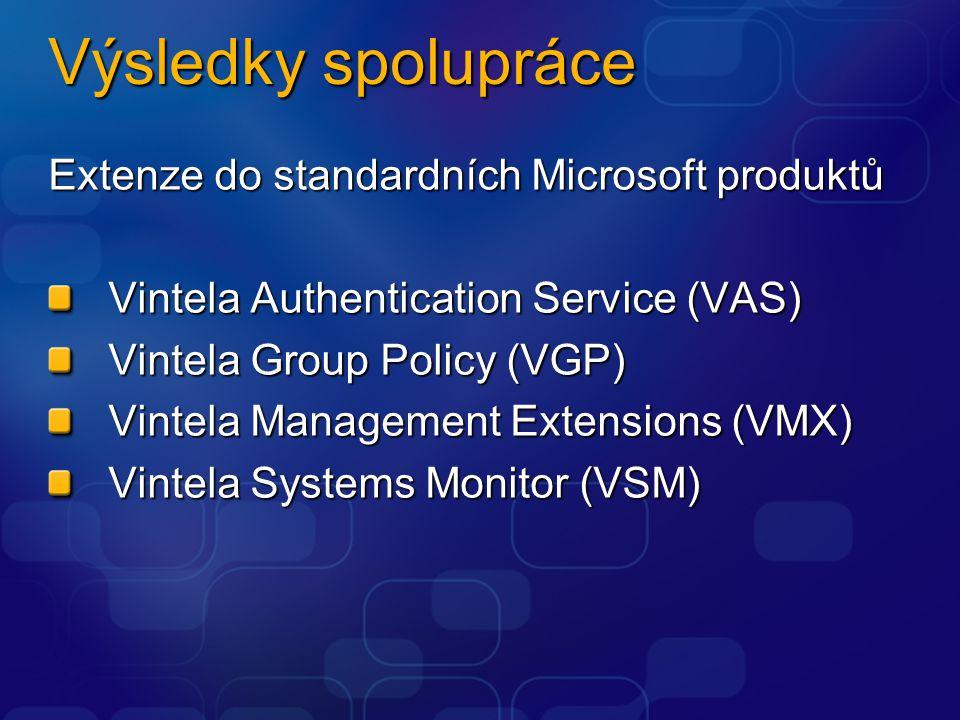 Výsledky spolupráce Extenze do standardních Microsoft produktů Vintela Authentication Service (VAS) Vintela Group Policy (VGP) Vintela Management Extensions (VMX) Vintela Systems Monitor (VSM)