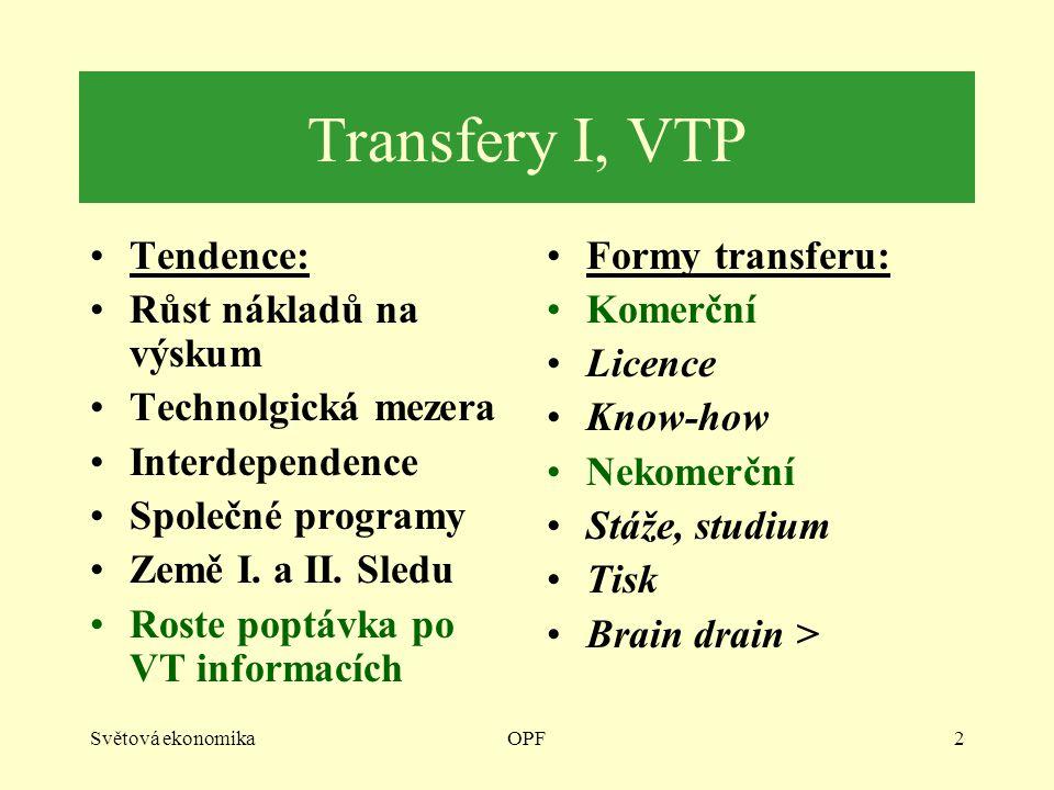 Světová ekonomikaOPF2 Transfery I, VTP Tendence: Růst nákladů na výskum Technolgická mezera Interdependence Společné programy Země I. a II. Sledu Rost