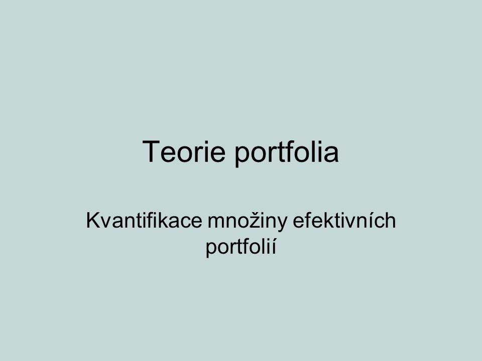 Teorie portfolia Kvantifikace množiny efektivních portfolií