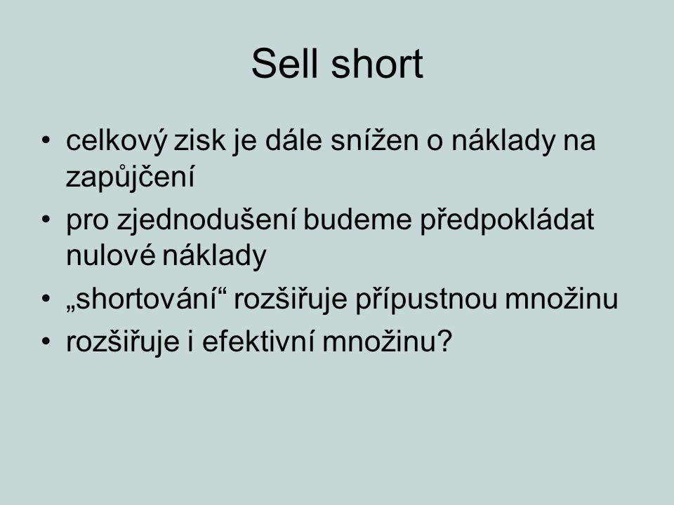 """Sell short celkový zisk je dále snížen o náklady na zapůjčení pro zjednodušení budeme předpokládat nulové náklady """"shortování rozšiřuje přípustnou množinu rozšiřuje i efektivní množinu"""