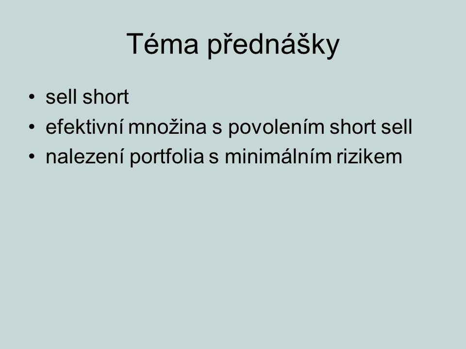 Téma přednášky sell short efektivní množina s povolením short sell nalezení portfolia s minimálním rizikem