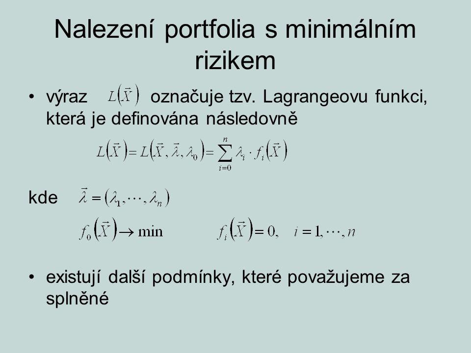 Nalezení portfolia s minimálním rizikem výraz označuje tzv. Lagrangeovu funkci, která je definována následovně kde existují další podmínky, které pova