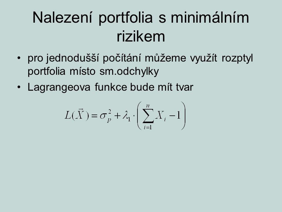 Nalezení portfolia s minimálním rizikem pro jednodušší počítání můžeme využít rozptyl portfolia místo sm.odchylky Lagrangeova funkce bude mít tvar